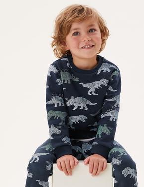Erkek Çocuk Gri Dinozor Desenli Sweatshirt (2-7 Yaş)