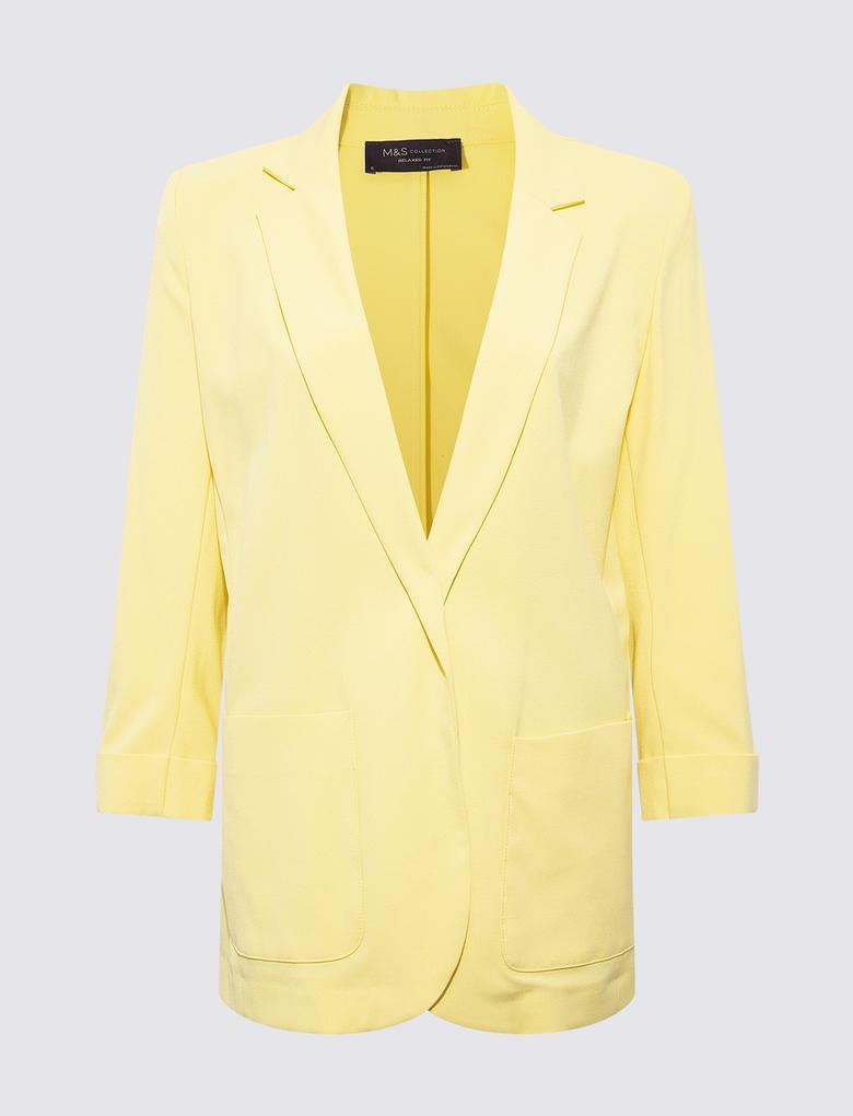 Kadın Sarı Relaxed Fit Blazer Ceket