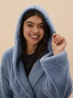 Kadın Mavi Kapüşonlu Polar Sabahlık