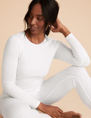 Kadın Beyaz 2'li Uzun Kollu Termal Üst