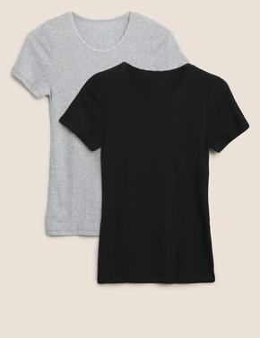 Kadın Siyah 2'li Termal Kısa Kollu Bluz