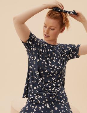 Kadın Lacivert Desenli Pijama Seti