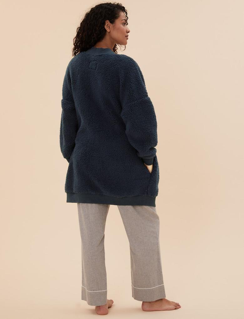 Kadın Lacivert Uzun Kollu Polar Sabahlık