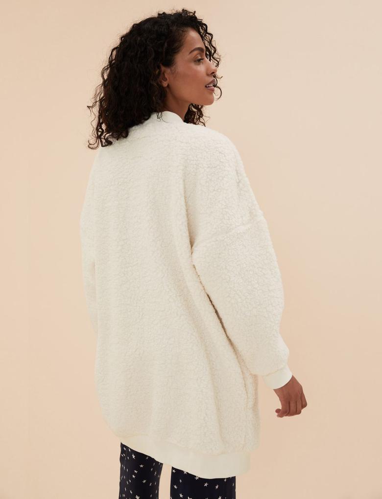 Kadın Bej Uzun Kollu Polar Sabahlık