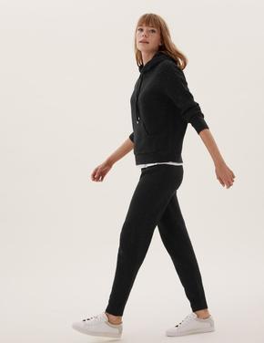 Kadın Siyah Desenli Örme Jogger