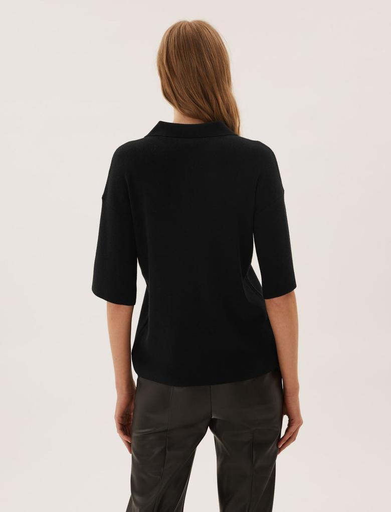 Kadın Siyah Yarım Fermuarlı Örme T-Shirt