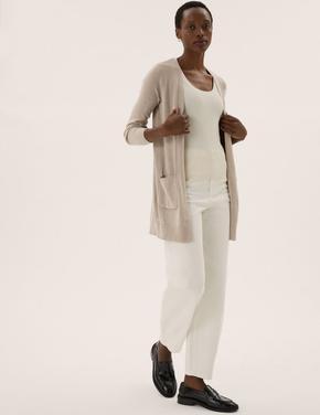 Kadın Renksiz Relaxed Fit Uzun Hırka
