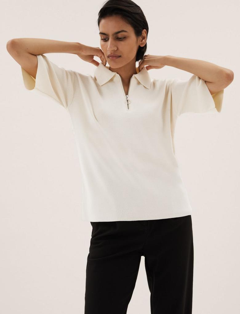 Kadın Krem Yarım Fermuarlı Triko T-Shirt