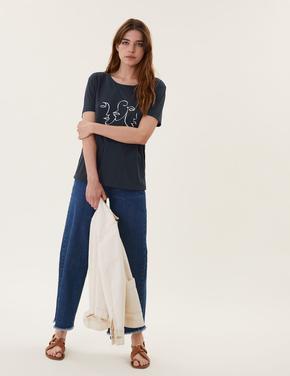 Kadın Lacivert Baskılı Kısa Kollu Relaxed Fit T-Shirt