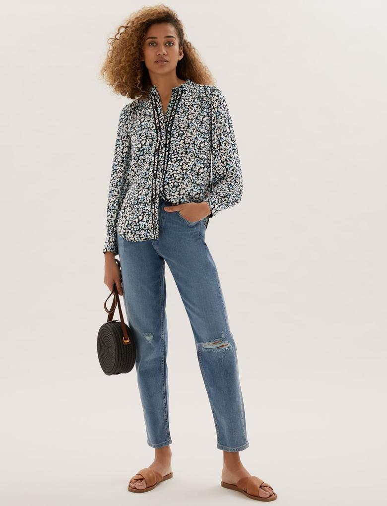 Kadın Mavi Fırfır Yaka Uzun Kollu Bluz