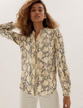Kadın Renksiz Fırfır Yaka Uzun Kollu Bluz