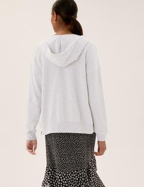 Kadın Gri Saf Pamuklu Kapüşonlu Fermuarlı Sweatshirt