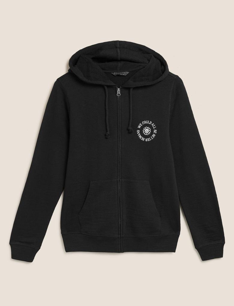 Kadın Siyah Saf Pamuklu Kapüşonlu Fermuarlı Sweatshirt