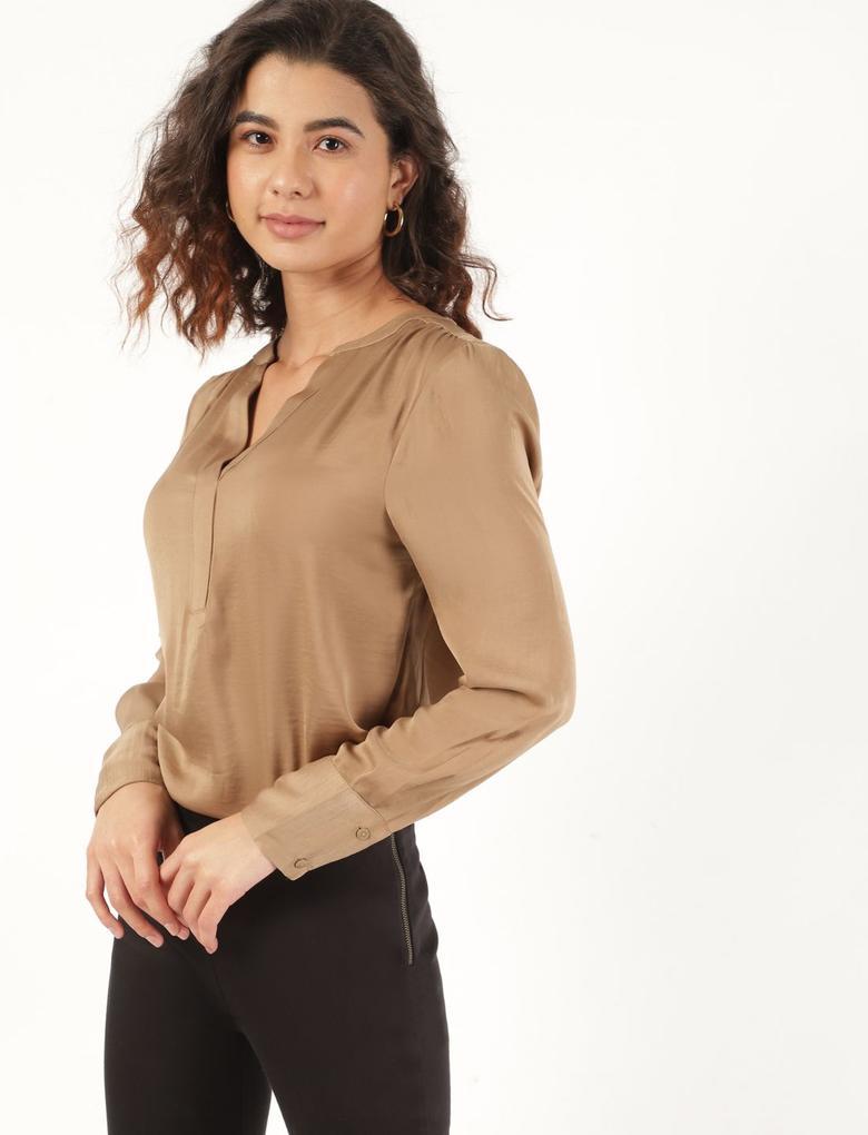 Kadın Kahverengi Uzun Kollu Popover Bluz