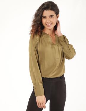 Kadın Yeşil Uzun Kollu Popover Bluz