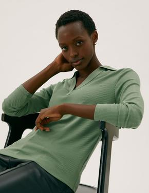 Kadın Yeşil Fitilli Uzun Kollu Bluz