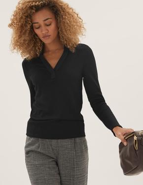 Kadın Siyah Fitilli Uzun Kollu Bluz