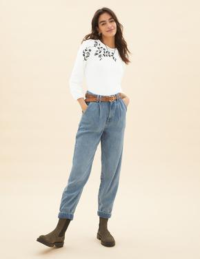 Kadın Krem Saf Pamuklu İşleme Detaylı Bluz
