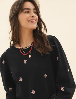 Kadın Siyah Saf Pamuklu İşleme Detaylı Sweatshirt