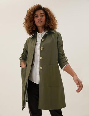 Kadın Yeşil Kapüşonlu Trençkot