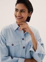 Kadın Gri Relaxed Fit Oversize Gömlek Ceket