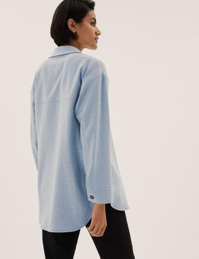 Kadın Gri Relaxed Fit Oversize Gömlek