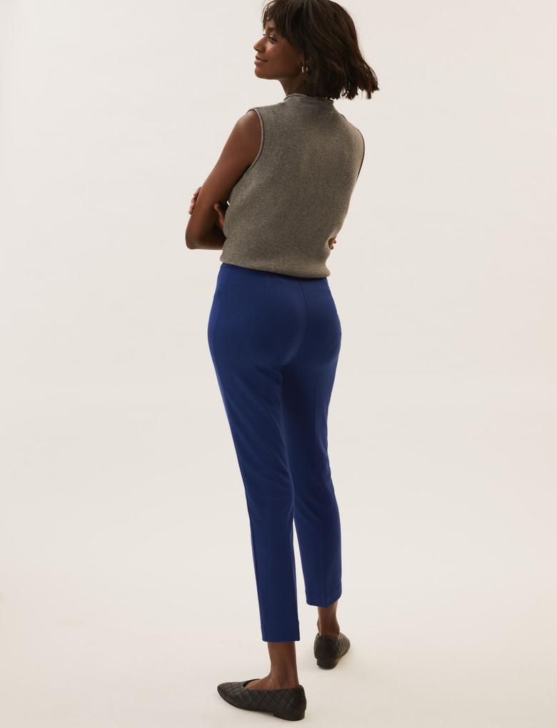 Kadın Lacivert Jersey Slim Fit Ankle Grazer Pantolon