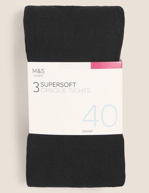 Kadın Siyah 3'lü 40 Denye Yumuşak Dokulu Opak Külotlu Çorap