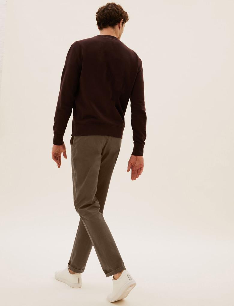 Erkek Kahverengi Regular Fit Esnek Chino