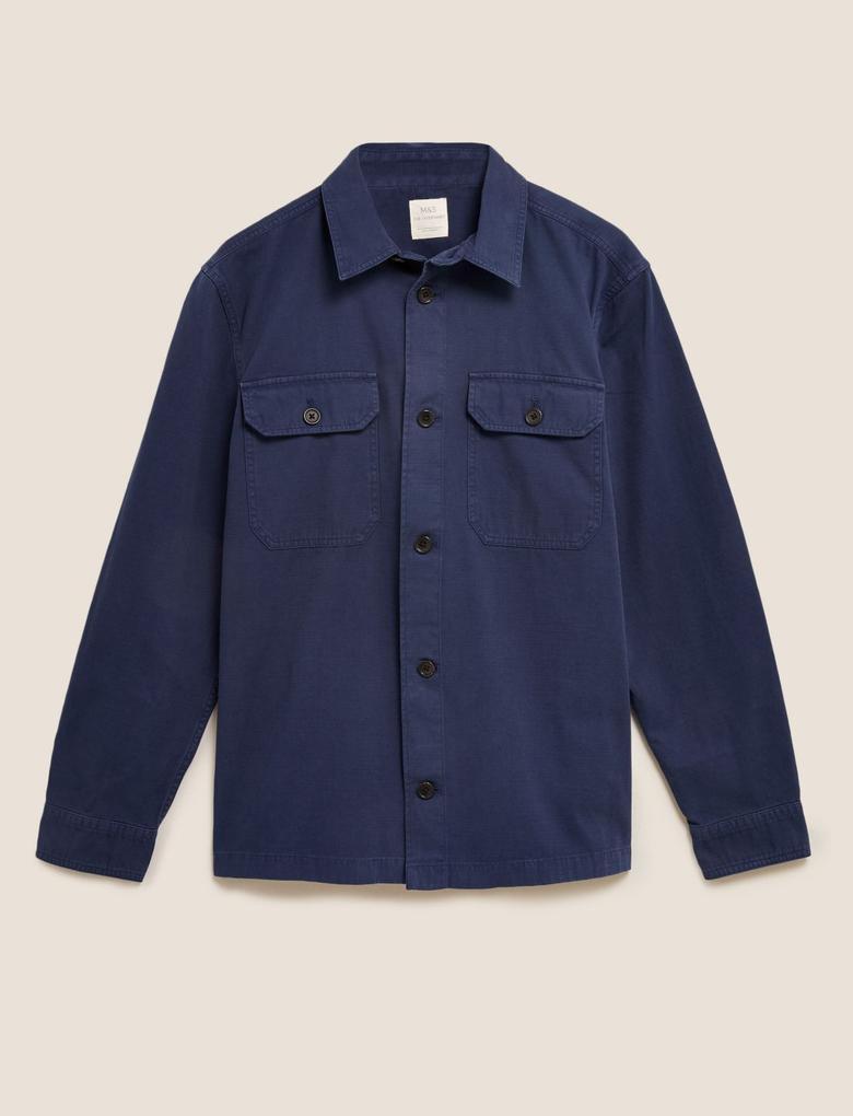 Erkek Lacivert Saf Pamuklu Yıkamalı Gömlek Ceket