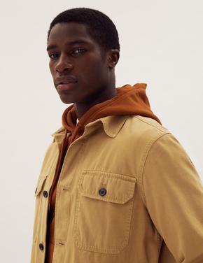Erkek Sarı Saf Pamuklu Yıkamalı Gömlek Ceket