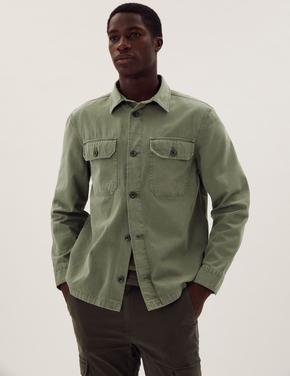Erkek Yeşil Saf Pamuklu Yıkamalı Gömlek Ceket