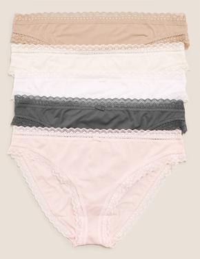 Kadın Pembe 5'li Dantel Detaylı Bikini Külot Seti