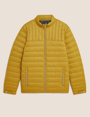 Erkek Sarı Dik Yaka Fermuarlı Şişme Mont