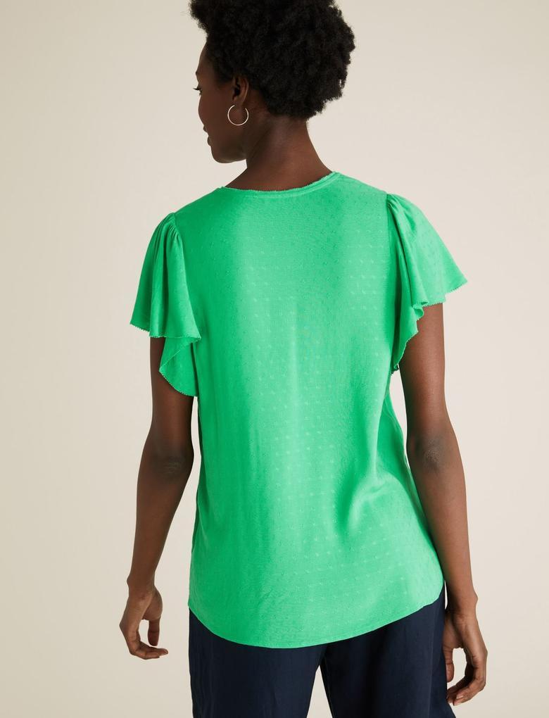 Kadın Yeşil Fırfır Detaylı Kısa Kollu Bluz