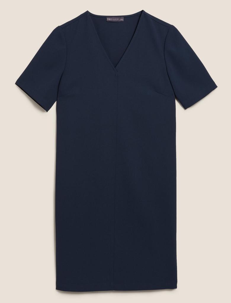Kadın Lacivert V Yaka Kısa Kollu Shift Elbise