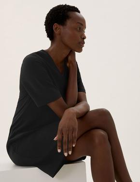 Kadın Siyah V Yaka Kısa Kollu Shift Elbise