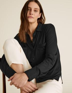 Kadın Siyah Jersey Uzun Kollu Gömlek