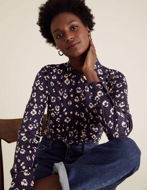 Kadın Lacivert Jersey Uzun Kollu Desenli Gömlek
