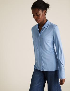 Kadın Mavi Jersey Uzun Kollu Gömlek