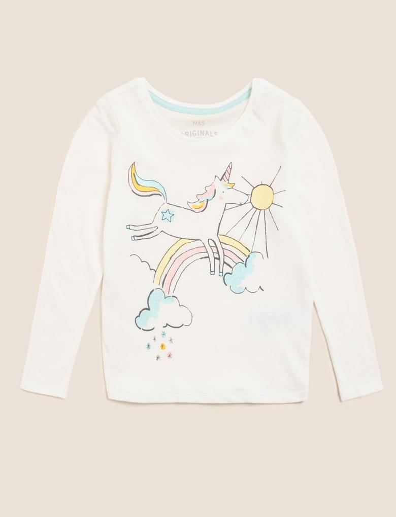 Kız Çocuk Beyaz Unicorn Desenli Uzun Kollu T-Shirt