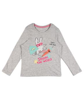 Kız Çocuk Gri Tavşan Desenli Uzun Kollu T-Shirt