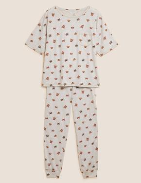 Kadın Bej Desenli Pijama Takımı