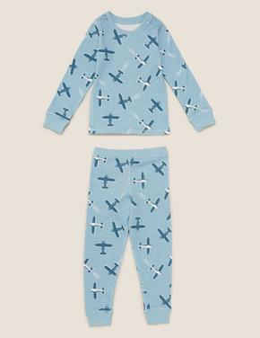 Çocuk Mavi Uçak Desenli Termal Pijama Takımı