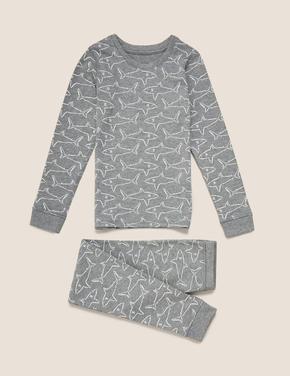 Çocuk Gri Köpekbalığı Desenli Termal Pijama Takımı