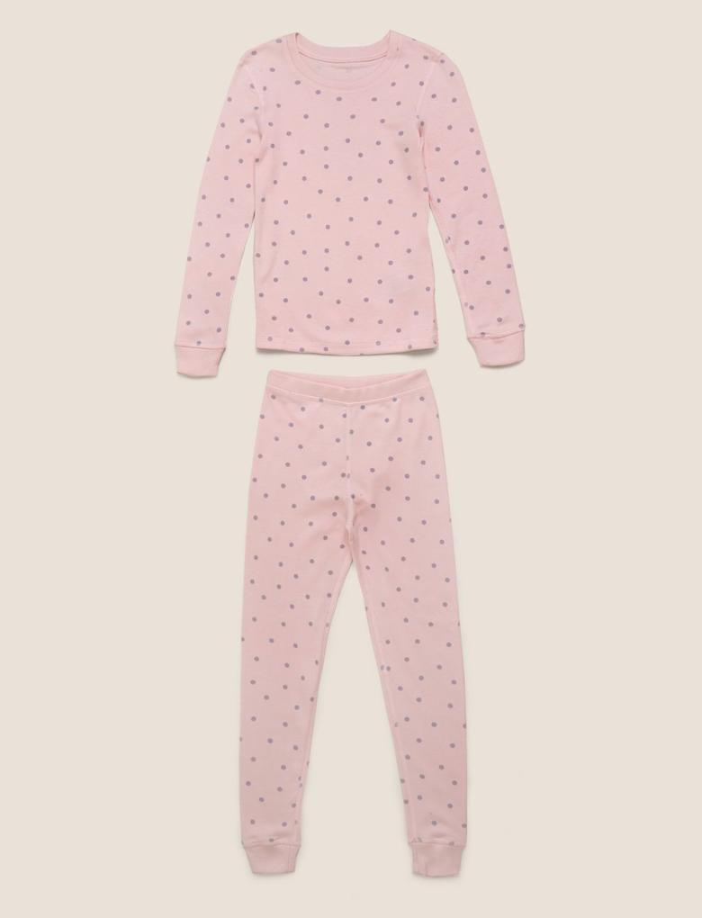 Çocuk Pembe Puantiyeli Termal Pijama Takımı