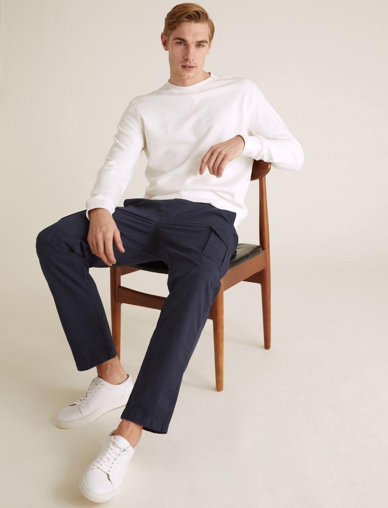 Erkek Lacivert Organik Pamuklu Straight Fit Kargo Pantolon