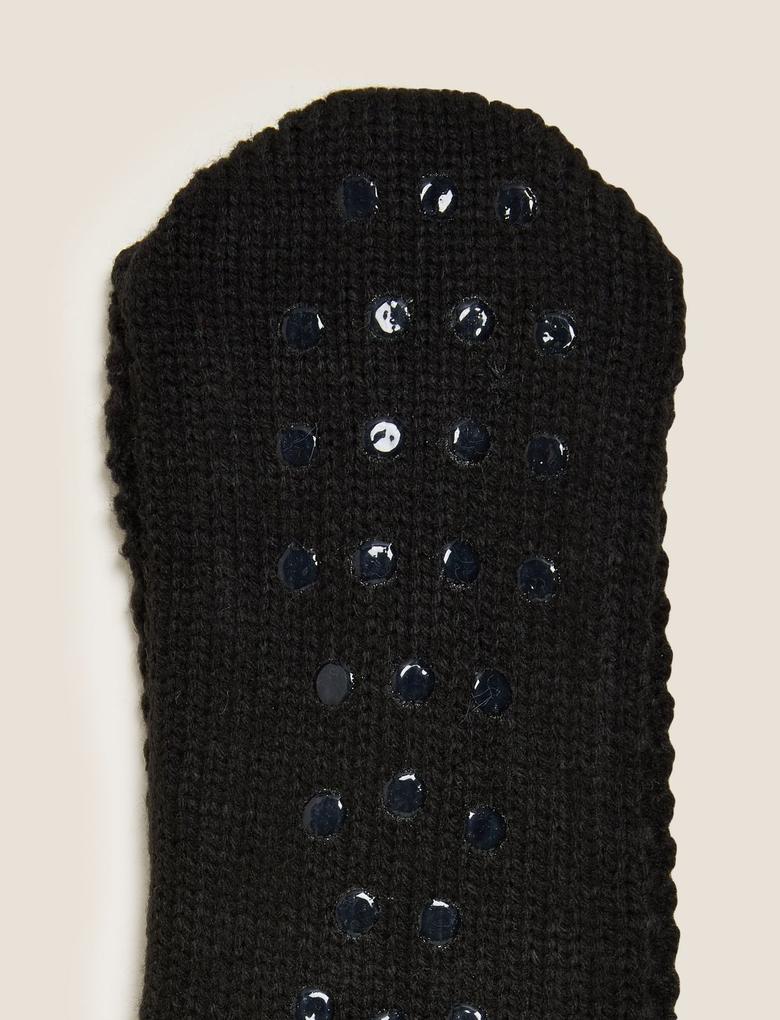 Erkek Siyah Polar Ev Çorabı
