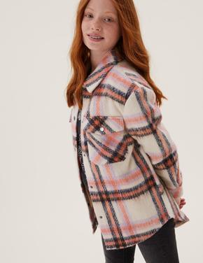 Kız Çocuk Krem Ekose Gömlek Ceket (6-16 Yaş)