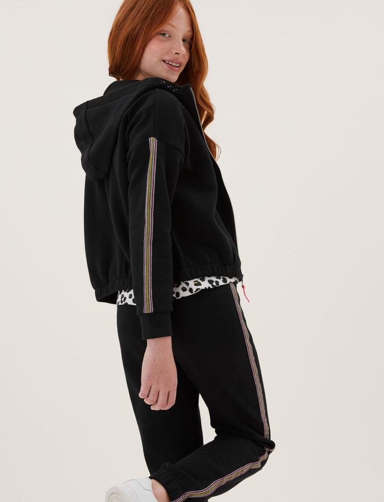 Kız Çocuk Siyah Şerit Detaylı Kapüşonlu Sweathirt (6-16 Yaş)